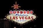 Legendary sign in Las Vegas, Nevada, saying Welcome to Las Vegas, on Strip,  NV, Las Vegas, city, night shot, sign Welcome to Las Vegas, Photo nv298-18703. .Copyright: Lee Foster, www.fostertravel.com, 510-549-2202,lee@fostertravel.com