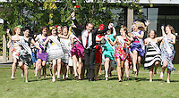 17/8/2010. 2010 Rose of Tralee visit RTE. Dáithí O Sé is pictured with 32 Irish and International Roses at the RTÉ studios in Donnybrook Dublin. The Rose of Tralee International Festival, which runs from Friday 20th to Tuesday 24th of August, culminates in the live televised International Rose Selection on RTÉ One, hosted for the first time by Dáithí O Sé. The show will be broadcast from 8pm on Monday and Tuesday the 23rd and 24th of August, with a break for the Nine O' Clock News on both nights. The show will also be streamed live around the world at www.rte.ie. Picture James Horan/Collins Photos