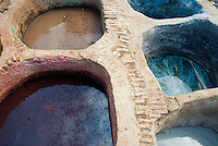 Vats of coloured dye at the tanneries in Fez, Morocco