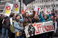 Montreal,CANADA, April 2, 1015.<br /> <br /> Students from Joseph-Francois-Perrault High school join<br /> Thousands of people including unions and students protestimg  the Quebec government&rsquo;s austerity measures in Montreal Thursday april 2nd.<br /> <br /> <br /> PHOTO : Philippe Manh Nguyen - Quebec Presse