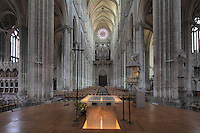 The nave seen from the altar, looking towards the main Western facade with its Grand Organ, installed 1549, and rose window, Basilique Cathedrale Notre-Dame d'Amiens or Cathedral Basilica of Our Lady of Amiens, built 1220-70 in Gothic style, Amiens, Picardy, France. The nave is 42.3m high. Amiens Cathedral was listed as a UNESCO World Heritage Site in 1981. Picture by Manuel Cohen