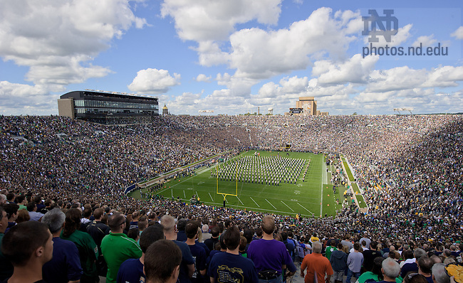 Sep 8, 2012; The Notre Dame Marching Band plays the national anthem before the home opener against Purdue...Photo by Matt Cashore