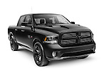 Black 2015 Dodge RAM 1500 Sport Crew Cab 4x4 pickup truck isolated on white background with clipping path