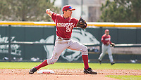 Rhode Island vs Arkansas Razorbacks Men's Baseball – Carson Shaddy of Arkansas turns the double play against Rhode Isldand at Baum Stadium, Fayetteville, AR, Sunday, March 12, 2017.  © 2017 David Beach
