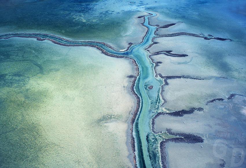Aerial view of texture, patterns north westren Australia coastline,