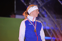 SCHAATSEN: AMSTERDAM: Olympisch Stadion, 28-02-2014, KPN NK Sprint/Allround, Coolste Baan van Nederland, podium Dames Allround 500m, Annouk van der Weijden, ©foto Martin de Jong