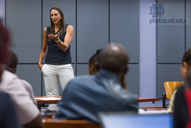 Jul. 2, 2014; Former Notre Dame Women's Basketball and WNBA player Ruth Riley speaks to YALI participants.  Photo by Matt Cashore/University of Notre Dame