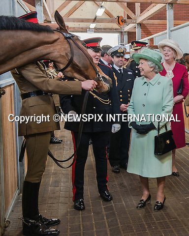 THE QUEEN<br /> paid her first visit to The King's Troop Royal Horse Artillery, a year after the unit moved to Woolwich from St John's Wood.   <br /> Their new home, George VI Lines in Woolwich, is a purpose built state of the art equestrian facility for The Troop's 125 Irish Draught Horses and 169 officers and soldiers, London_31/5/2013<br /> Mandatory Credit Photo: &copy;A Harlen/NEWSPIX INTERNATIONAL<br /> <br /> **ALL FEES PAYABLE TO: &quot;NEWSPIX INTERNATIONAL&quot;**<br /> <br /> IMMEDIATE CONFIRMATION OF USAGE REQUIRED:<br /> Newspix International, 31 Chinnery Hill, Bishop's Stortford, ENGLAND CM23 3PS<br /> Tel:+441279 324672  ; Fax: +441279656877<br /> Mobile:  07775681153<br /> e-mail: info@newspixinternational.co.uk