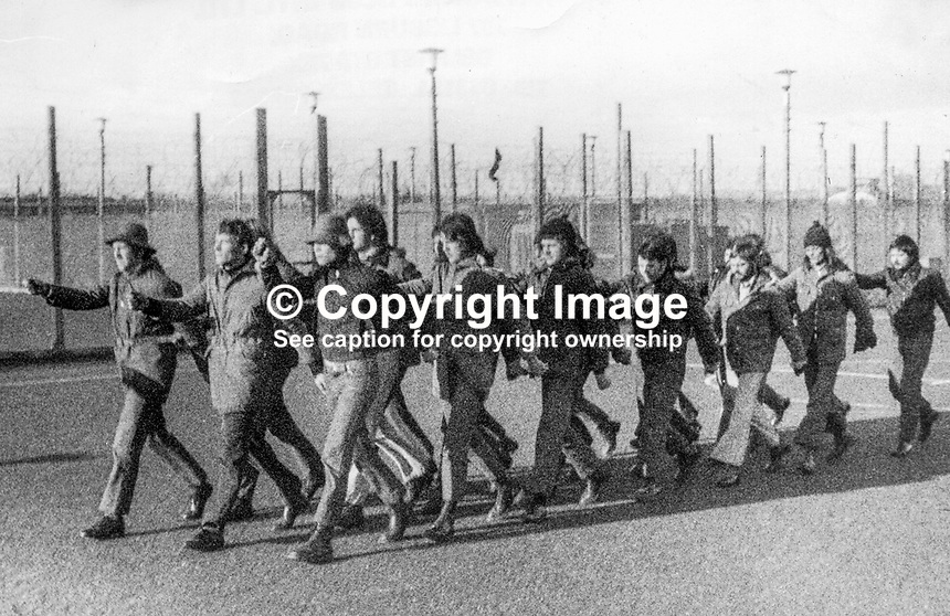 Irish republican para-military prisoners drilling in Long Kesh, near Lisburn, Co Antrim, N Ireland, during May 1974. 197400000354.<br />