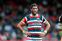 Dom Barrow of Leicester Tigers looks on during a break in play. Aviva Premiership match, between Leicester Tigers and Worcester Warriors on October 8, 2016 at Welford Road in Leicester, England. Photo by: Patrick Khachfe / JMP