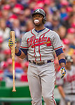 4 April 2014: Atlanta Braves outfielder Justin Upton blows a bubble during the Washington Nationals Home Opening Game at Nationals Park in Washington, DC. The Braves edged out the Nationals 2-1 in their first meeting of the 2014 MLB season. Mandatory Credit: Ed Wolfstein Photo *** RAW (NEF) Image File Available ***