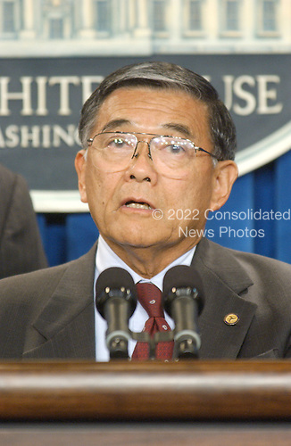 United States Secretary of Transportation Norman Y. Mineta makes a statement in the White House Briefing Room in Washington, D.C. on Tuesday, September 11, 2001 in the hours following the terrorist attacks against the World Trade Center in New York and the Pentagon in Washington, DC..Credit: Ron Sachs / CNP