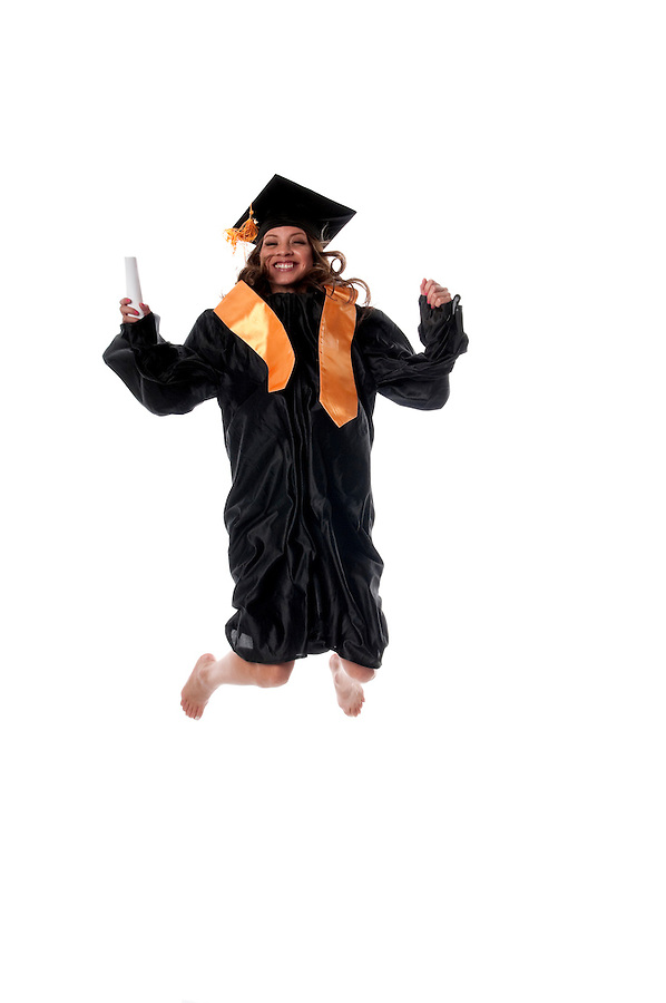 Young girl student jumping very happy.