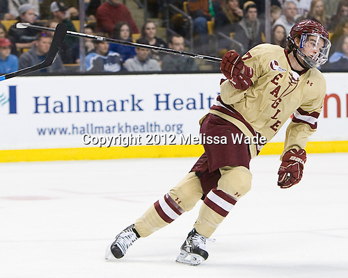 Destry Straight (BC - 17) - The Boston College Eagles defeated the University of Maine Black Bears 4-1 to win the 2012 Hockey East championship on Saturday, March 17, 2012, at TD Garden in Boston, Massachusetts.