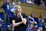 29 January 2017: Wake Forest head coach Jen Hoover. The Duke University Blue Devils hosted the Old Dominion University Monarchs at Cameron Indoor Stadium in Durham, North Carolina in a 2016-17 Division I Women's Basketball game. Duke won the game 71-43.