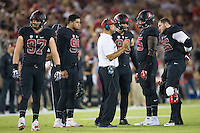 STANFORD, CA - October 8, 2016: Huddle at Stanford Stadium. The Washington State Cougars defeated the Cardinal 42-16.