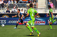 Daniel Cruz (44) of the Philadelphia Union gets behind the  of the Seattle Sounders defense. The Philadelphia Union and the Seattle Sounders played to a 2-2 tie during a Major League Soccer (MLS) match at PPL Park in Chester, PA, on May 4, 2013.