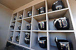 12 March 2011: New York Yankees helmets lie ready for use in the dugout cubbies prior to a Spring Training game against the Washington Nationals at Space Coast Stadium in Viera, Florida. The Nationals edged out the Yankees 6-5 in Grapefruit League action. Mandatory Credit: Ed Wolfstein Photo