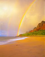 Rainbow at Kalalau Beach  Na Pali Coast State Park  Island of Kauai, Hawaii  End of Kalalau Trail  Na Pali Cliffs  September