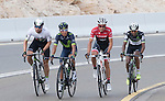 Jaco Venter (RSA) Dimension Data, Nairo Quintana (COL) Movistar and Alberto Contador (ESP) Trek-Segafredo climb Jebel Hafeet near the end of Stage 3 Al Maryah Island Stage of the 2017 Abu Dhabi Tour, starting at Al Ain and running 186km to the mountain top finish at Jebel Hafeet, Abu Dhabi. 25th February 2017<br /> Picture: ANSA/Claudio Peri | Newsfile<br /> <br /> <br /> All photos usage must carry mandatory copyright credit (&copy; Newsfile | ANSA)