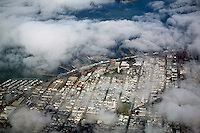 aerial photograph fog Coit Tower San Francisco, California