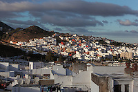 Town of Tetouan on the slopes of Jbel Dersa in the Rif Mountains of Northern Morocco. Tetouan was of particular importance in the Islamic period from the 8th century, when it served as the main point of contact between Morocco and Andalusia. After the Reconquest, the town was rebuilt by Andalusian refugees who had been expelled by the Spanish. Picture by Manuel Cohen