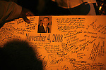 Supporters of President elect Barack Obama show a signed plucker at Harlem New York NY .Tuesday Nov 4 2008.  Millions of voters across the United States went to the polls in record numbers to choose between Presidential candidates Barack Obama and John McCain.. Photo by Eyal Warshavsky .