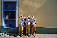 School boys, happy, waving, uniforms, Cuba, Republic of Cuba,