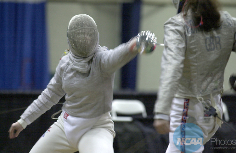 22 MAR 2002:  Sada Jacobson, (left), of Yale, and Louise Bond-Williams, of Ohio State, (right), battle during the women's sabre finals of the NCAA Fencing Championship held in the William E. and Carol G. Simon Forum at Drew University in Madison, NJ. Sada Jacobson, of Yale, defeated Louise Bond-Williams, of Ohio State, 15-9 for first place. John Munson/NCAA Photos.