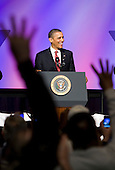 United States President Barack Obama delivers remarks at the United Auto Workers conference at the Marriott Wardman Park Hotel in Washington, D.C. on Tuesday, February 28, 2012. .Credit: Kristoffer Tripplaar  / Pool via CNP