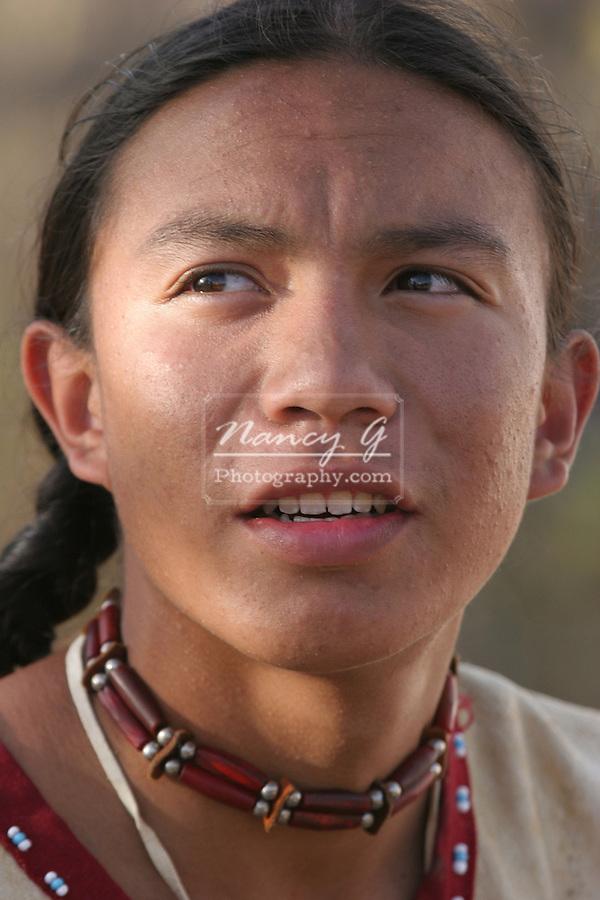A Native American teenage Indian boy portrait