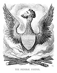 The Federal Phoenix. (a Victorian cartoon shows President Abraham Lincoln rising from the ashes of Commerce, United States Constitution, Credit, Habeas Corpus, Free Press and State Rights)