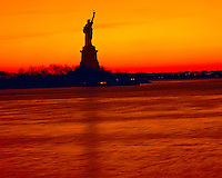 Winter View of Statue of Liberty at Sunrise from New Jersey, Statue of Liberty National Monument, New York