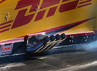 Jul 8, 2016; Joliet, IL, USA; Detailed view of the header exhaust pipes on the engine of NHRA funny car driver Del Worsham during qualifying for the Route 66 Nationals at Route 66 Raceway. Mandatory Credit: Mark J. Rebilas-USA TODAY Sports