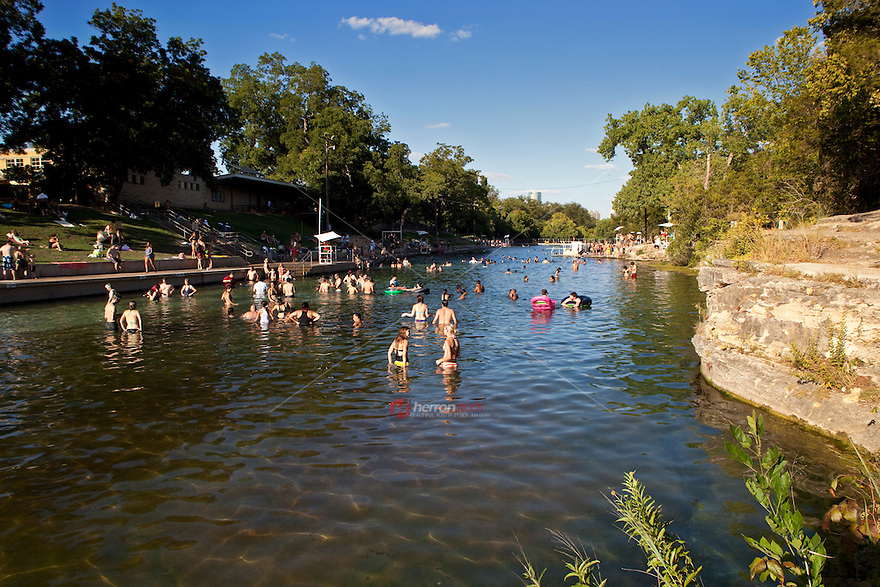 Barton Springs Pool In Zilker Park Is A Spring Fed Over 900 Feet Long And The Average