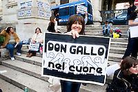 Roma 23 Maggio 2013.Manifestazione davanti al Ministero della Pubblica Istruzione del Coordinamento Scuole Elementari di Roma per protestare contro i tagli dei posti docenti  di scuole elementari e per il ripristino del tempo pieno. Un cartello per Don Andrea Gallo