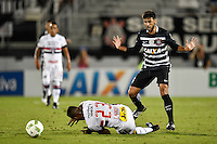Orlando, FL - Saturday Jan. 21, 2017: Corinthians midfielder Camacho (29) reacts after pushing over São Paulo midfielder T. Mendes (23) during the first half of the Florida Cup Championship match between São Paulo and Corinthians at Bright House Networks Stadium.