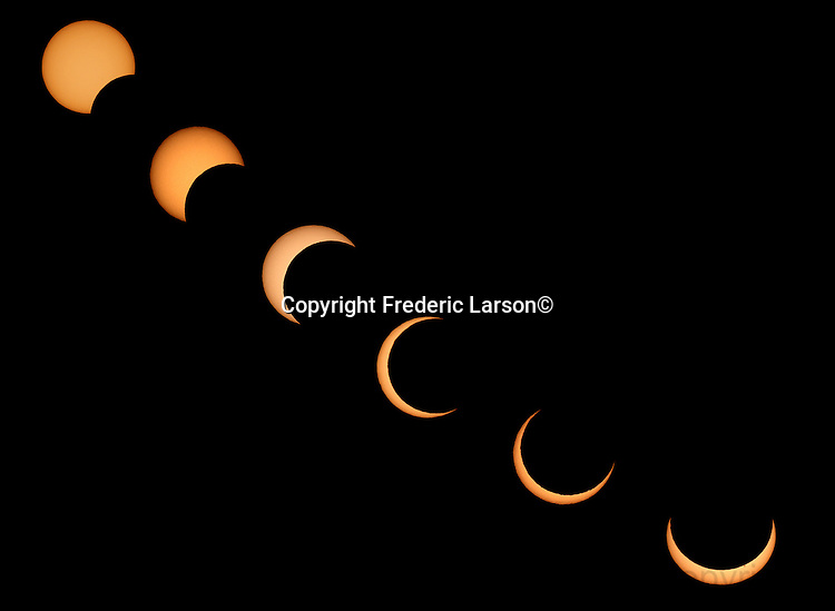 A rare type of partial solar eclipse was seen over San Francisco on Sunday 5/20. The eclipse begin at 5:16 p.m. Sunday when the new moon moved slowly across the sun's face and blocks most of it, providing a spectacular event for Bay Area viewers. This is photo illustration of (6) different photographs layered together to show the progression of time during the partial solar eclipse.