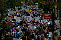The One World Trade Center and Financial District in lower Manhattan are seen while people march against police brutality in Staten Island. 08.23.2014. Eduardo Munoz Alvarez/VIEWpress