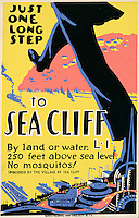 Work Projects Administration (WPA) poster promoting a vacation to Sea Cliff, Long Island, New York, which has no mosquitos,  produced between 1936 and 1943. (Library of Congress)