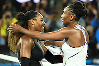 January 28, 2017: Serena Williams celebrates after winning the Women's Final match on day 13 of the 2017 Australian Open Grand Slam tennis tournament in Melbourne, Australia. Photo Sydney Low