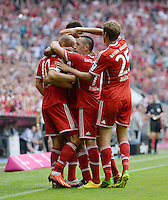 Fussball  1. Bundesliga  Saison 2013/2014  3. Spieltag FC Bayern Muenchen - 1. FC Nuernberg       24.08.2013 JUBEL FC Bayern Muenchen; Arjen Robben, Franck Ribery und Thomas Mueller (v.li.)