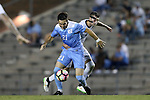 16 September 2016: North Carolina's Warren Marshall (21) is grabbed by Pitt's Bryce Cregan (behind). The University of North Carolina Tar Heels hosted the University of Pittsburgh Panthers in Chapel Hill, North Carolina in a 2016 NCAA Division I Men's Soccer match. UNC won the game 1-0.