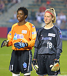 Briana Scurry (1) and Siri Mullinix (18) at SAS Stadium in Cary, North Carolina on 6/18/03 during the 2003 WUSA All Star Skills Competition.