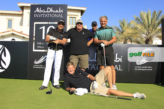 Shariar Khodjasteh, JP, Rob Hersov and Dr.Collum Boyce on the 10th tee to start their match during the 2015 Abu Dhabi Invitational Am-Am event held at Yas Links Golf Course, Abu Dhabi.: Picture Eoin Clarke, www.golffile.ie: 1/26/2015