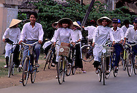 Traditional Vietnamese Girls on their Bikes, circa 1992. Near Can Tho, the hub of the Mekong Delta (Vietnamese: Đồng bằng S&ocirc;ng Cửu Long &quot;Nine Dragon river delta&quot;), also known as the Western Region (Vietnamese: Miền T&acirc;y or the South-western region (Vietnamese: T&acirc;y Nam Bộ) is the region in southwestern Vietnam where the Mekong River approaches and empties into the sea through a network of distributaries. The Mekong delta region encompasses a large portion of southwestern Vietnam of 39,000 square kilometres (15,000&nbsp;sq&nbsp;mi). The size of the area covered by water depends on the season.<br />