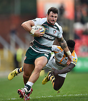 Adam Thompstone of Leicester Tigers looks to get past Christian Wade of Wasps. Aviva Premiership match, between Leicester Tigers and Wasps on November 1, 2015 at Welford Road in Leicester, England. Photo by: Patrick Khachfe / Onside Images
