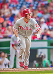 6 September 2014: Philadelphia Phillies third baseman Cody Asche in action against the Washington Nationals at Nationals Park in Washington, DC. The Nationals fell to the Phillies 3-1 in the second game of their 3-game series. Mandatory Credit: Ed Wolfstein Photo *** RAW (NEF) Image File Available ***