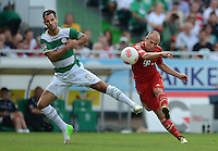 Fussball 1. Bundesliga :  Saison   2012/2013   1. Spieltag  25.08.2012 SpVgg Greuther Fuerth - FC Bayern Muenchen Mergim Mavraj (li, Greuther Fuerth)  gegen Arjen Robben (FC Bayern Muenchen)