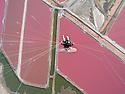 Namibia, Namib Desert, Skeleton Coast, aerial view of powered paraglider above salt lagoons at Swakopmund